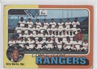 Texas Rangers Team Checklist (Billy Martin) [NoneGoodtoVGR…
