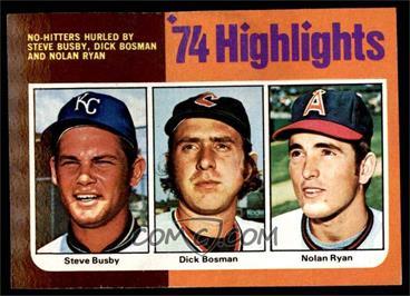 1975 Topps - [Base] #7 - Steve Busby, Dick Bosman, Nolan Ryan [VG]