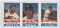 Hank Aaron, Buddy Bell, Steve Braun [Good to VG‑EX]