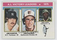 1975 AL Victory Leaders (Jim Hunter, Jim Palmer, Vida Blue)