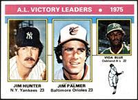 1975 AL Victory Leaders (Jim Hunter, Jim Palmer, Vida Blue) [EX]