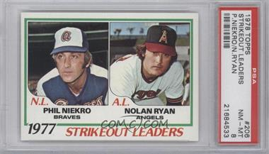 1978 Topps - [Base] #206 - Strikeout Leaders (Phil Niekro, Nolan Ryan) [PSA 8]