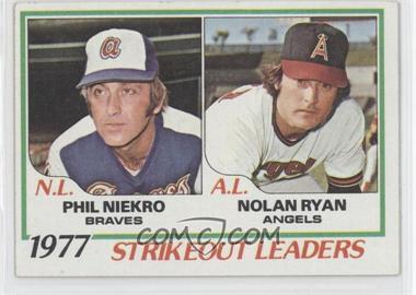 1978 Topps - [Base] #206 - Strikeout Leaders (Phil Niekro, Nolan Ryan)