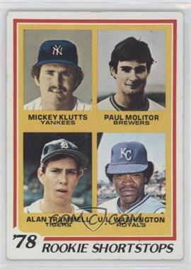 1978 Topps - [Base] #707 - Rookie Shortstops (Paul Molitor, Alan Trammell, Mickey Klutts, U.L. Washington) [EXtoNM]