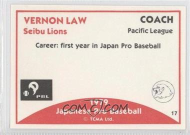 1979 TCMA Japanese Pro Baseball #17 - Vern Law - Courtesy of COMC.com