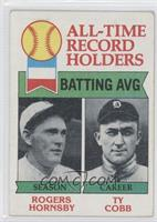Rogers Hornsby, Ty Cobb