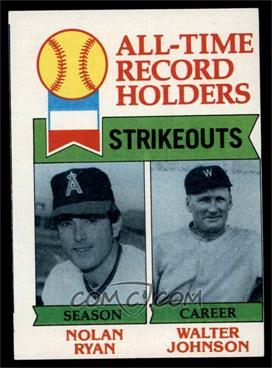 1979 Topps - [Base] #417 - All-Time Record Holders - Strikeouts - All-Time Record Holders Strikeouts (Nolan Ryan, Walter Johnson) [GOOD]
