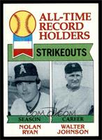 All-Time Record Holders Strikeouts (Nolan Ryan, Walter Johnson) [EX]