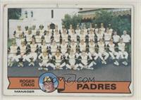 San Diego Padres Team Checklist (Roger Craig) [GoodtoVG‑EX]