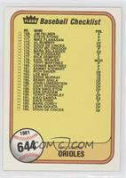 Checklist (Baltimore Orioles, Cincinnati Reds) (#202 George Foster