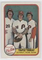 Triple Threat (Mike Schmidt, Pete Rose, Larry Bowa) (Number on Back)