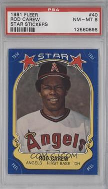 1981 Fleer Star Stickers - [Base] #40 - Rod Carew [PSA 8]