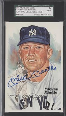 1981 Perez-Steele Hall of Fame Art Postcards - Fifth Series #145 - Mickey Mantle /10000 [SGCAUTHENTIC]