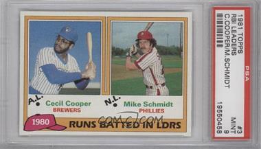 1981 Topps - [Base] #3 - Cecil Cooper, Mike Schmidt [PSA9]