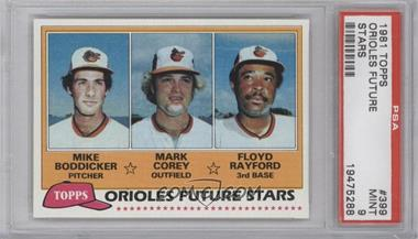 1981 Topps - [Base] #399 - Mike Boddicker, Mark Corey, Floyd Rayford [PSA 9]