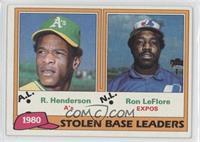1980 Stolen Base Leaders - Ron LeFlore, Rickey Henderson