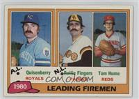1980 Leading Firemen (Dan Quisenberry, Rollie Fingers, Tom Hume)