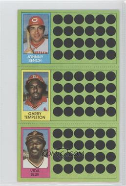 1981 Topps Baseball Scratch-Off - [Base] #108-82-64 - Johnny Bench, Garry Templeton, Vida Blue
