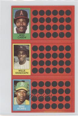 1981 Topps Baseball Scratch-Off - [Base] #53-36-18 - Rod Carew, Willie Randolph, Mike Norris, Roy Carlyle