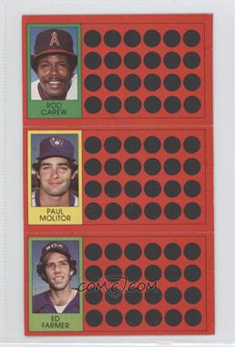 1981 Topps Baseball Scratch-Off - [Base] #54-35-18 - Rod Carew, Ed Farmer, Paul Molitor