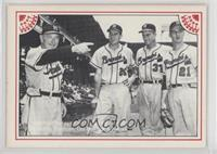 Fred Haney, Bobby Thompson, Lou Burdette, Warren Spahn