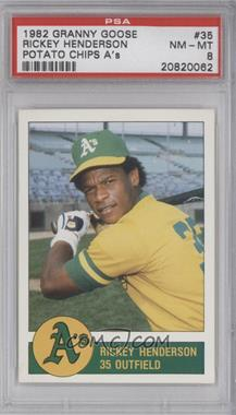 1982 Granny Goose Potato Chips Oakland A's - Food Issue [Base] #35 - Rickey Henderson [PSA 8]