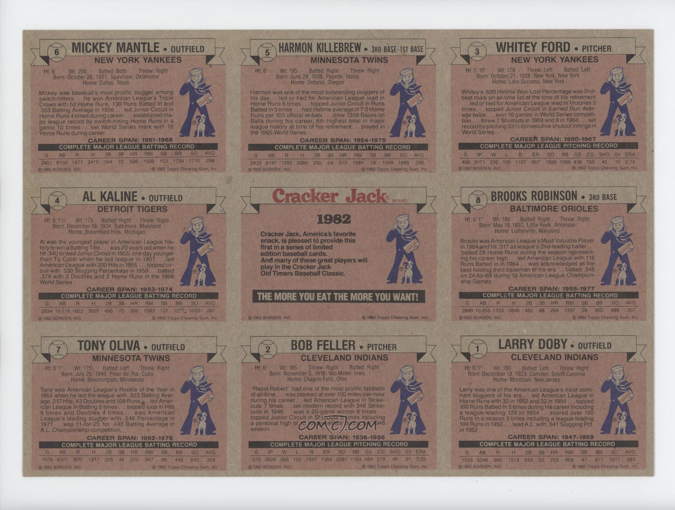 1982 topps cracker jack food issue full sheet 1 8 mickey mantle harmon killebrew whitey. Black Bedroom Furniture Sets. Home Design Ideas