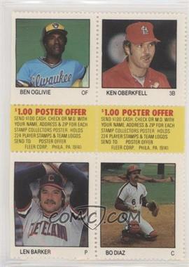 1983 Fleer Stamps - Block of Four #OOBD - Ben Oglivie, Ken Oberkfell, Len Barker, Bo Diaz