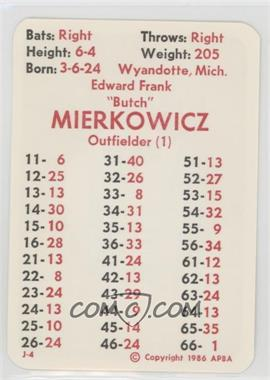 1986 APBA Baseball 1947 Season - [Base] #EDMI.3 - Ed Mierkowicz