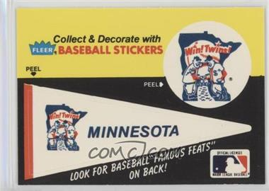 1986 Fleer - Team Stickers Inserts/Baseball's Famous Feats #MITW.1 - Minnesota Twins Pennant - Fred Toney Hippo Vaughn