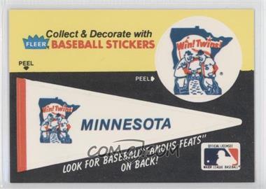 1986 Fleer - Team Stickers Inserts/Baseball's Famous Feats #MITW.1 - Minnesota Twins Pennant - Fred Toney Hippo Vaughn