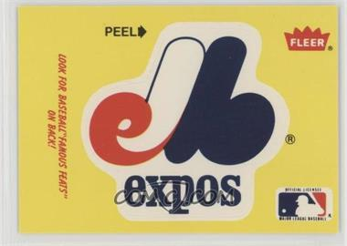 1986 Fleer - Team Stickers Inserts/Baseball's Famous Feats #MOEX.3 - Montreal Expos Team Logo - Fred Toney Hippo Vaughn