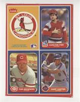 Cardinals Logo, Carlton Fisk, Tom Browning, Gary Carter