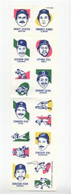 1986 O-Pee-Chee Tattoos - [Base] - Full Sheets #1 - Charlie Leibrandt, Dickie Thon, Lee Smith, Dave Winfield, Julio Franco, Keith Hernandez, Jack Perconte, Rich Gossage