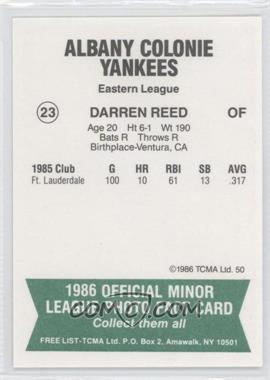 1986 TCMA Minor League #50 - Darren Reed - Courtesy of COMC.com
