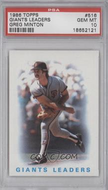 1986 Topps - [Base] #516 - San Francisco Giants Team, Greg Minton [PSA10]