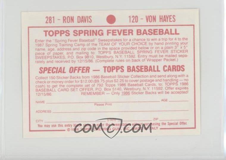 1986 Topps Album Stickers Base 281 120 Ron Davis Von Hayes