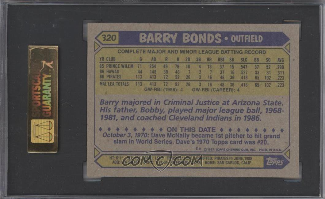 1987 Topps Base 320 Barry Bonds Sgc 9 Mint