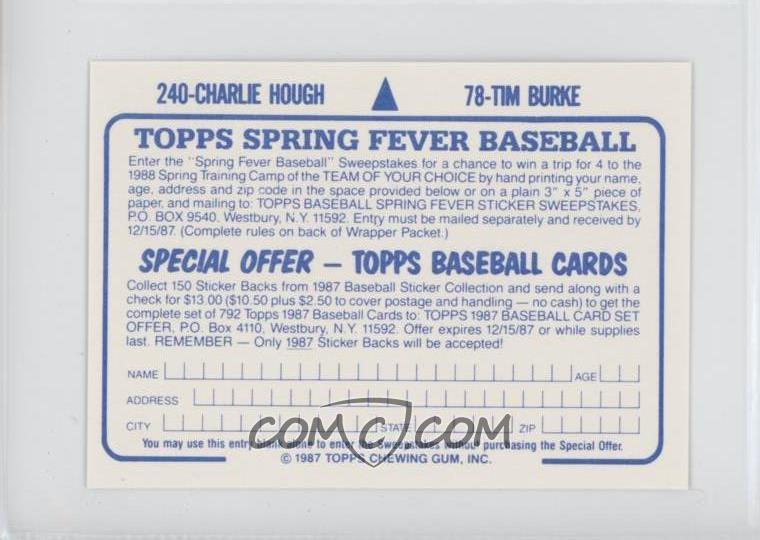 1987 Topps Album Stickers - Test Issue [Base] - Hard Back