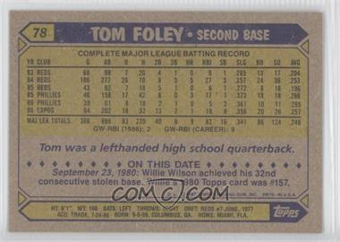 1987 Topps #78 - Tom Foley - Courtesy of COMC.com