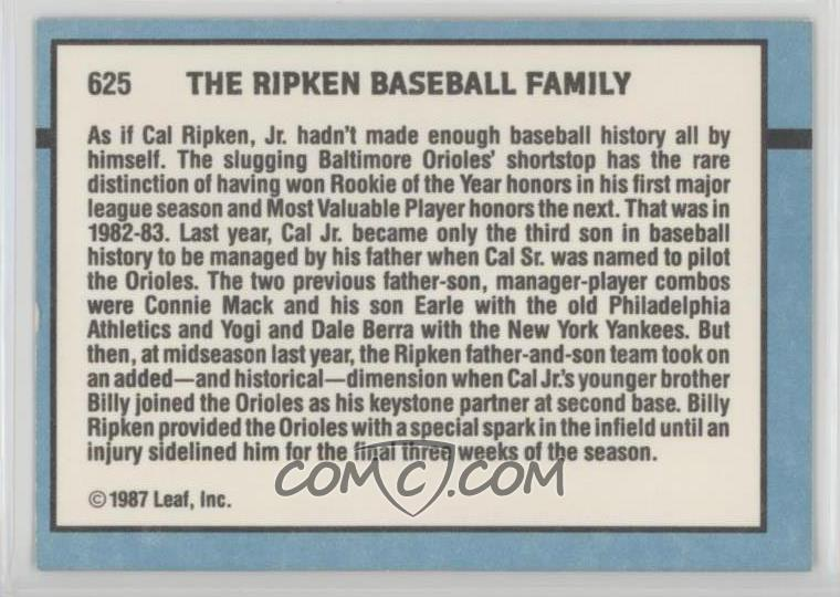 1988 Donruss Base 625 Ripken Baseball Family