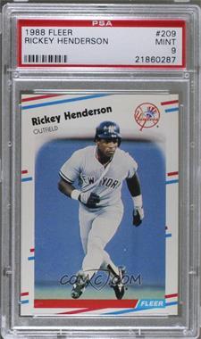 1988 Fleer - [Base] #209 - Rickey Henderson [PSA9]