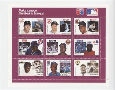 1988 Grenada Major League Baseball in Stamps U.S. Series 1 - Sheets #PURP - Purple Set - Mickey Mantle, Roger Clemens, Rod Carew, Ryne Sandberg, Mike Scott, Tim Raines, Willie Mays, Bret Saberhagen, Ty Cobb
