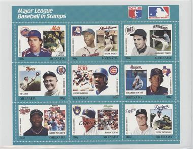 1988 Grenada Major League Baseball in Stamps U.S. Series 1 - Sheets #TEAL - Teal Set - Gary Carter, Hank Aaron, Gaylord Perry, Ty Cobb, Andre Dawson, Charlie Hough, Kirby Puckett, Robin Yount, Don Drysdale