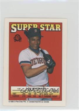 1988 O-Pee-Chee Super Star Sticker Backs - [Base] #38.5 - Lou Whitaker (Ken Oberkfell 37; Charlie Liebrandt 260)