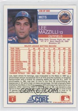 1988 Score #158 - Lee Mazzilli - Courtesy of COMC.com
