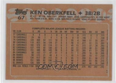 1988 Topps - [Base] - Blank Front #67 - Ken Oberkfell