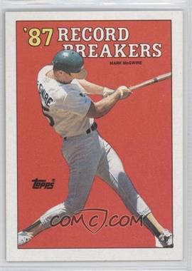 1988 Topps - [Base] #3.2 - '87 Record Breakers - Mark McGwire (Area of white behind left heel)