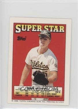1988 Topps Super Star Sticker Back Cards Base 36 Mark Mcgwire