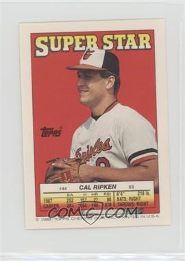 1988 Topps Super Star Sticker Back Cards - [Base] #44.2 - Cal Ripken Jr (Chris Brown 111, Dave Stewart 168)